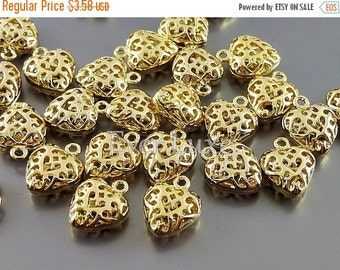 15% SALE 4 small SHINY gold puffy heart filigree charms, heart pendants, jewelry supplies, craft supplies 1975-BG (bright gold, 4 pieces)