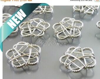 15% SALE 4 wire wrapped flower pendants, delicate wire work jewelry pendants, flower charms 2094-MR