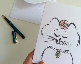 Sweet Kitty Cat with Flowers Greeting Card, cat note card, cat lover, cat stationery