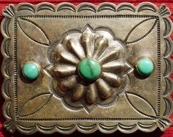 Southwest Sterling Silver Stamped Turquoise Belt Buckle -- Leo Feeney