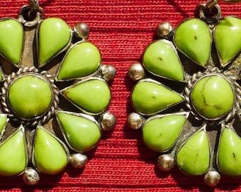 Southwest Sterling Silver Gaspeite Sunburst Cluster Earrings