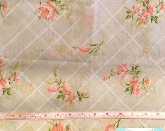 Vintage Tan and Pink Floral Pillowcase