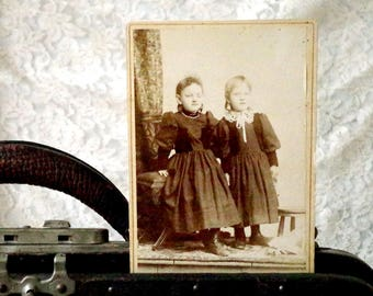 Cabinet Card Antique Photo Two Sisters - closed eyed child photo - 1800s Photo of little Girls