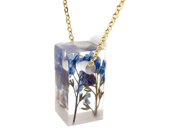 "Botanical Jewelry Forget Me Nots Eco Resin Jewelry 1"" Bar Necklace with Real Pressed Flowers Sterling Gold Handmade Jewelry"