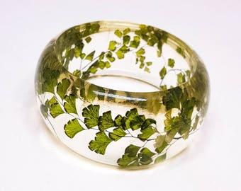 Size Small Fern Resin Bangle.  Green Bangle Bracelet.  Pressed Flower Bangle - Maidenhair Fern.  Real Flowers. Handmade Resin Jewelry.