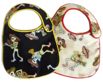 Dancing Musical Skeletons Baby Bibs for baby boy or girl set of 2 bibs