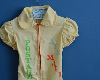 Vintage Girl's Mail Themed Yellow Jumpsuit - Size 4