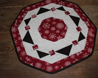 Snowflake Berry Wreath quilted table topper