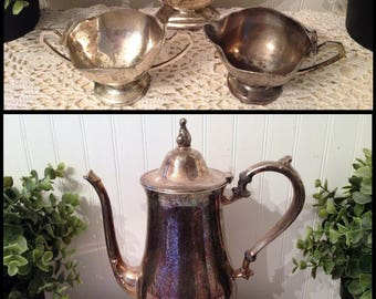 Vintage Silver Service Wm A Rogers Teapot, Art Deco style Sugar, Creamer, Gravy Boat, Made in Japan. Shabby, mismatched, tarnished, eclectic