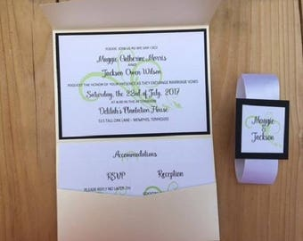 Flourish Design Custom Pocket Invitation Suite with Inserts and Belly Band
