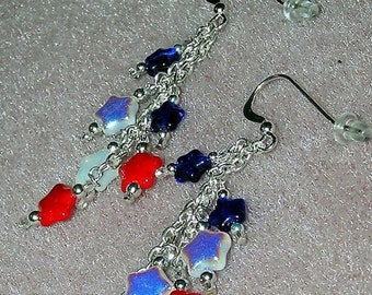 SALE NOW 15% OFF 925 Silver Red White Blue Star Sparkle Dangle Earrings