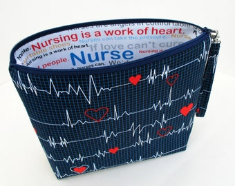 Nurse Tall Zippered Cosmetic Pouch Bag with Strap, Calling All Nurses, EKG Heart Monitor, Heartbeat Bag, New Size