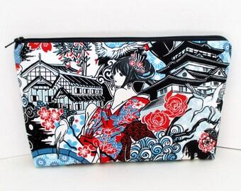 Zippered Make Up Bag, Anime Girls, Cosmetic Pouch, Japanese Geisha