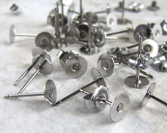 24pcs pcs 6mm TITANIUM Earring Posts with Flat Pad and Backs jewelry finding supplies
