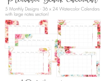 "36"" x 24"" 5- Blank Watercolor Floral Calendar with notes section. Printable Wall Size Poster Calendar. Set of 5. Re-useable under glass"