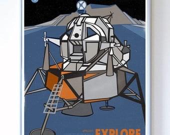 11 x 14 - Apollo 11 Lunar Mission Module Explore, Science Poster Art Print, Stellar Science Series - Wall Art