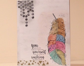 Encouragement Card, Inspirational Card, Feather Card, REDUCED PRICE
