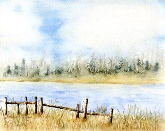 Original Landscape Painting 8 x 10 Watercolor
