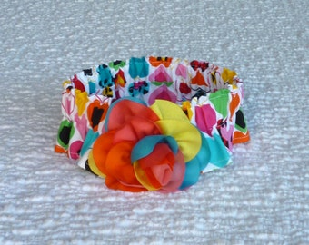 "Dog Ruffle Collar, Pet Bandana, Dog Neckware, Luv Bug Hearts Dog Scrunchie Collar with chiffon rainbow rose - Size L: 16"" to 18"" neck"
