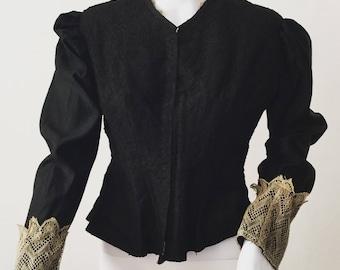 Antique Black Lace Bodice 1800s Ecru Lace Cuffs S M Victorian Jacket Blouse