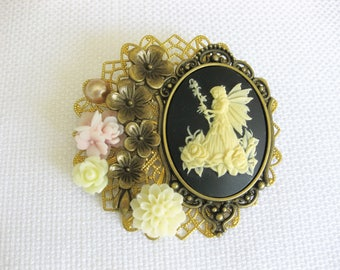 Cameo Pendant Necklace, Cameo Assemblage Necklace, Cameo Necklace, Cameo Brooch, Cameos, Cameo, Assemblage Brooch, Flowers,  VN003, VN004