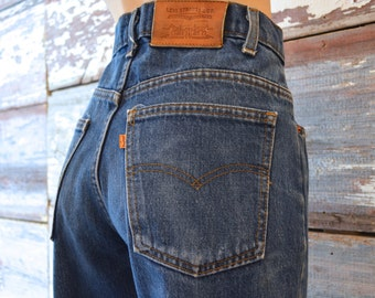 Vintage Levis 509 Orange Tab Jeans With Thick Leather Patch 1980s