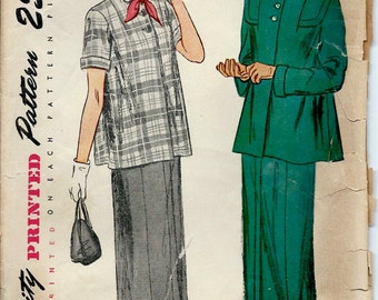 1940's Simplicity Sewing Pattern - Maternity Suit or Maternity Blouse and Skirt  Bust 33