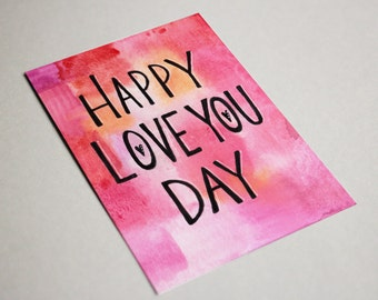 Downloadable Valentines Card, Love Card, Watercolor Greeting