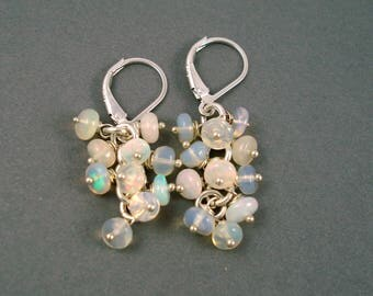 Opal Earrings, Petite Ethiopian Fire Opal Clusters on Sterling Silver Leverback Wires