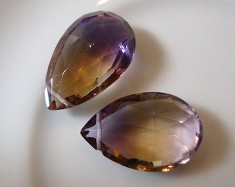 One Pair  AAA All Natural Ametrine Pear Shape Pendant Size Briolettes