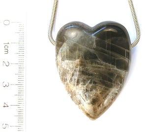 DVH Black Lightning Moonstone Heart Focal Bead 47x36x15 (7361)