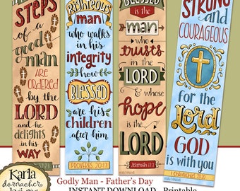 Fathers Day - Godly Man - Full Color - Bookmarks - Bible Journal Art - Instant Download Scripture Digital Printable