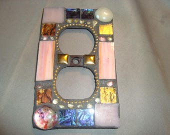 MOSAIC Electrical Outlet COVER , Wall Plate, Wall Art, Bronze, Brown, Pink, White, Gold, Blue
