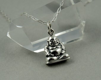 Buddha Necklace - Sterling Silver Tiny Charm Necklace, Yoga Necklace, Girls Jewelry, Girls Necklace, Tiny Charms, Charm Bracelet Charms