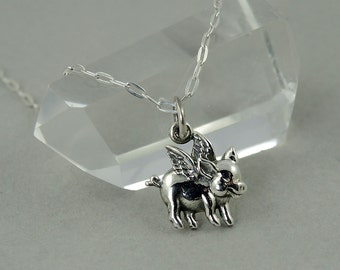 Flying Pig Necklace - Sterling Silver Tiny Charm Necklace, Girls Jewelry, Girls Necklace, Tiny Charms, Charm Bracelet Charms
