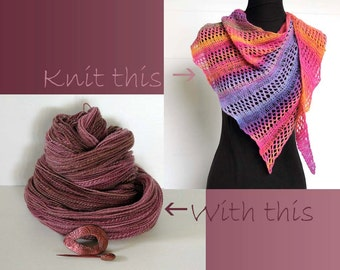 DIY Knitted Scarf/Shawl Handspun Handdyed, Cedar Rose