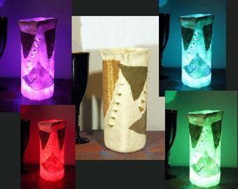 Rainbow LED felted lamp, felted lantern, LED felt light