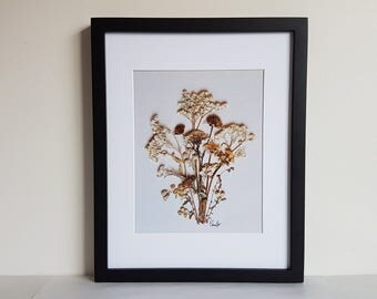 Pressed flower art 11x14 matted print from one of my original pressed flower artwork made with real dried flowers - Dried flower art