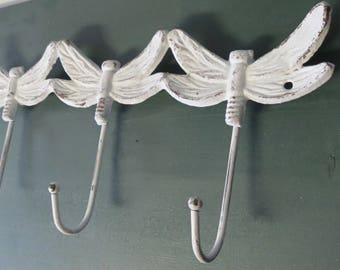 Metal Dragon Fly Wall Decor with Hooks,  Wall Hook Hanger, Pink Dragonfly Hanger,  Dragonfly Hooks, Metal Dragonfly Wall Art,  Shabby