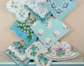 Aqua Vintage Flower Hankies / Flower Hankerchiefs / Landies Hankies