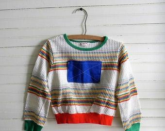Kids 1980s Shirt, 1980s Striped Shirt, Mesh Shirt, 80s Mesh Shirt, Kids Size Large Shirt, Long Sleeve Shirt, Multi Color Stripe 1980s Shirts