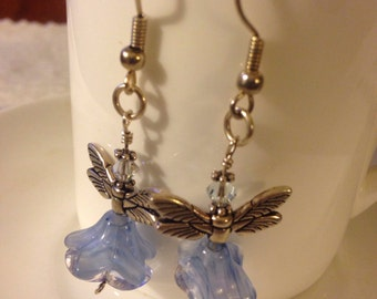 SALE ----  Blue Czech Glass Angel Earrings