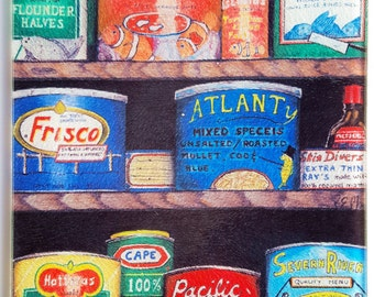 Captain's Cupboard glass cutting board sportfishing humorous artwork gift canned goods