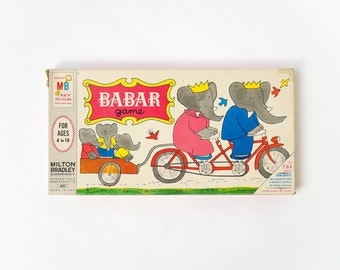 Vintage 1960s Childrens Game / Milton Bradley Babar Board Game 1968 No Reading Requied / Race Through the Jungle To Babar's Castle