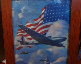 Military Airplane over whitehouse Print with folk art frame