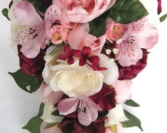 "17 piece package Wedding bouquets Bridal bouquet Wedding Silk flowers BURGUNDY Light PINK MAUVE Wine Wedding Centerpieces ""RosesandDreams"""