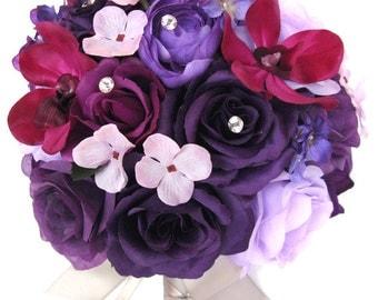 """17 piece package Wedding bouquets Bridal bouquet Wedding Silk flowers PURPLE LAVENDER PLUM Sangria Wedding Centerpieces """"RosesandDreams"""""""
