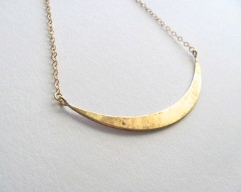 Golden crescent bib necklace, brass on 14k gold plate chain, vintage pendant, upcycled jewelry