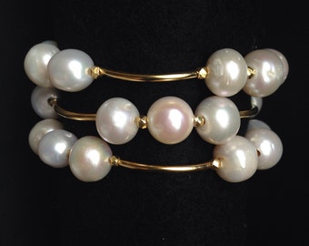 SET - White Round Freshwater Pearls Stretch Bracelets in Gold Vermeil Tubes; Gold Pearl Bracelet; Pearl Jewelry