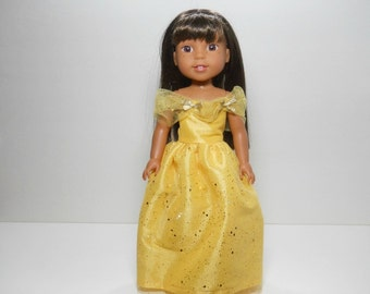 Designed for 14.5 inch dolls such as Wellie Wishers, Yellow Princess  Fancy Gown Dress, 12-1633
